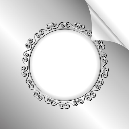 silver frame: silver background with round frame and bent corner