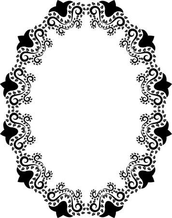 silhouette of oval floral frame Vector