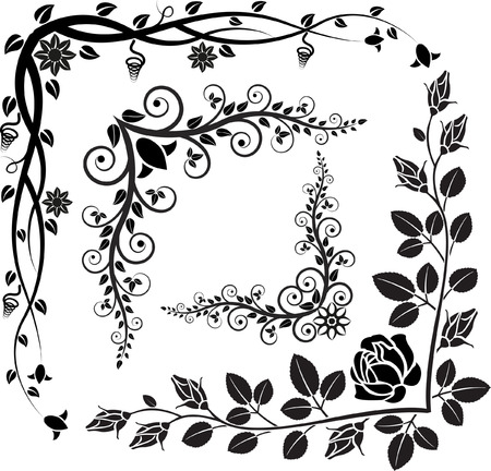 set of floral corners Vector