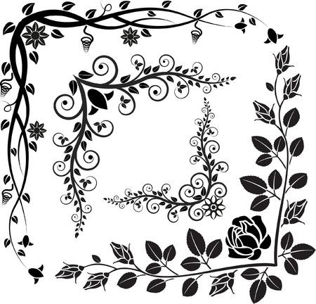 set van bloemen hoeken Stock Illustratie