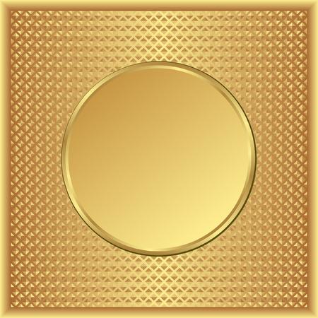 round border: textured golden background with round banner
