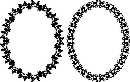 oval shape: oval frames with ornaments Illustration