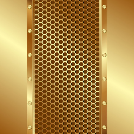 metal grate: golden background with grille texture