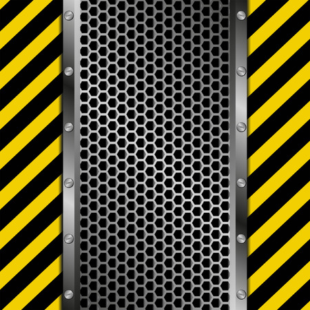 tread plate: grate background with yellow and black tape Illustration