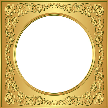rose frame: golden frame with rose ornaments and transparent space insert for picture