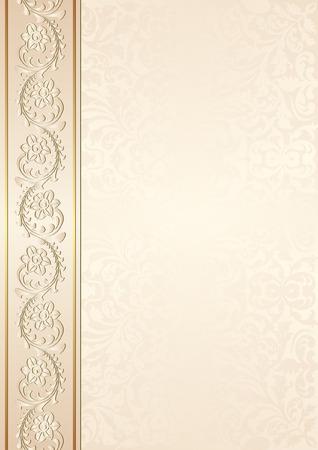 beige achtergrond met florale ornamenten Stock Illustratie