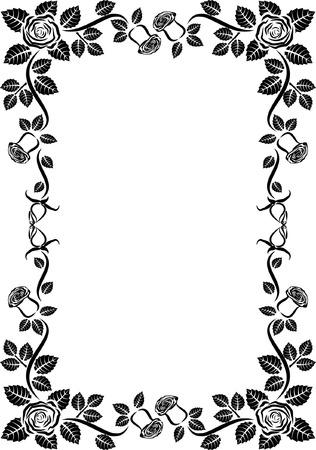 separator: silhouette of rose frame