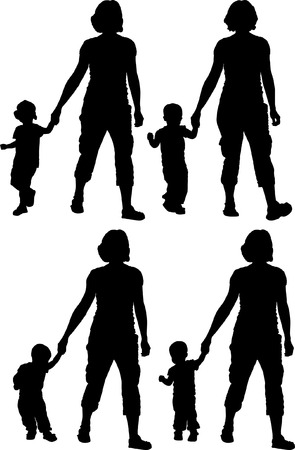 one parent: silhouette of woman with child Illustration