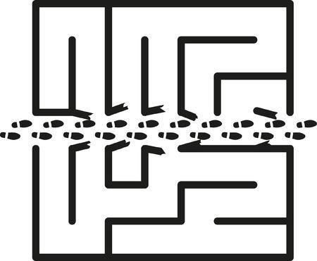 attain: Shortcut cutted through a maze by a footprints