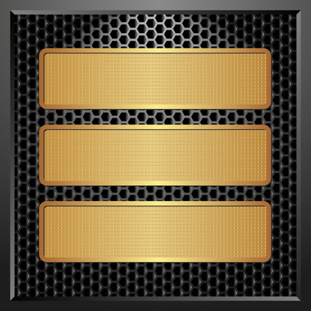 tread plate: black panel with three golden banners Illustration
