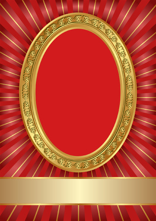 red background with golden frame Vector