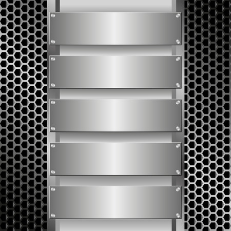 grille: grille texture with five metallic banners Illustration