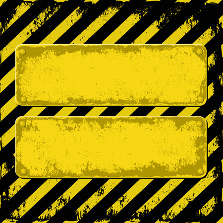 hazard tape: yellow and black grunge background with two plaque for text