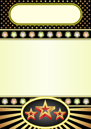 black and yellow background with neon and stars Vector