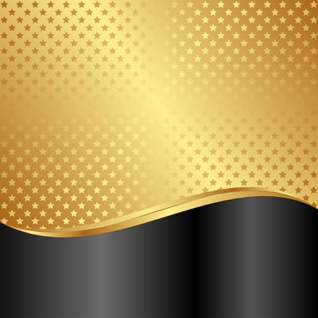 gold and black background with stars Illustration