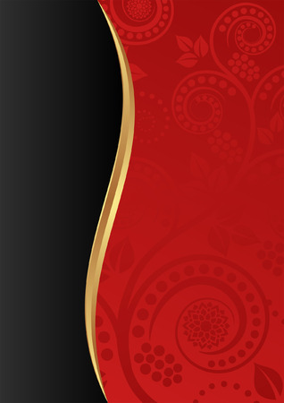 red and black background with floral ornaments Vector