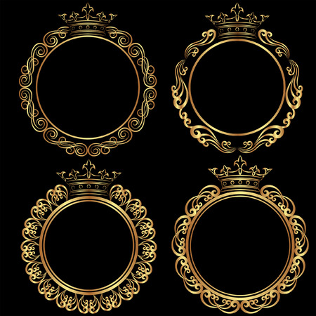 golden frames: set of golden frames with crown Illustration