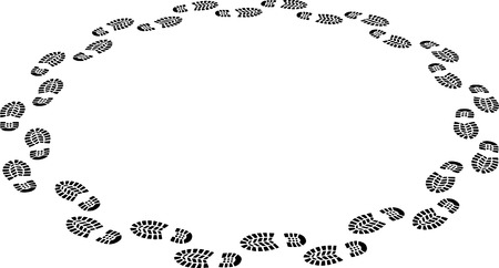 Footsteps going round in circles  Vector