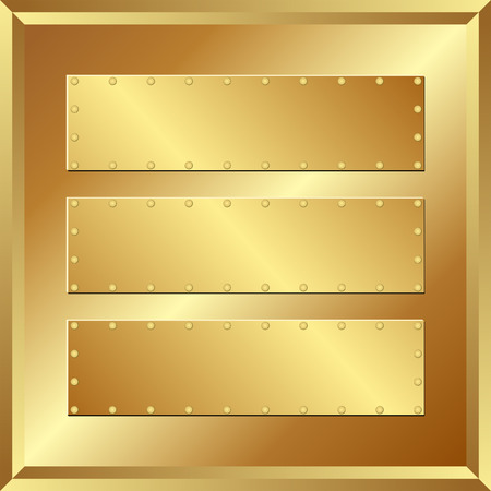 riveted metal: three golden banners on metallic background
