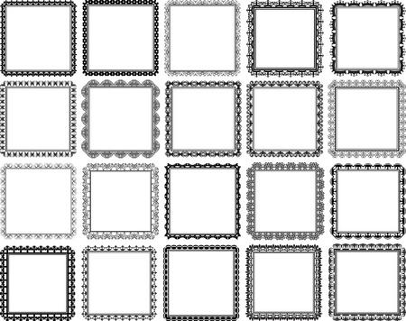 ensemble de cadres de carrés décoratifs - éléments de conception