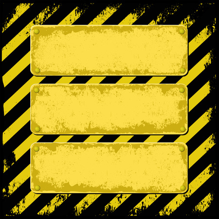 yellow and black grunge background with three plaque for text Vector