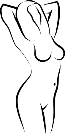 sketch of a naked woman Vector