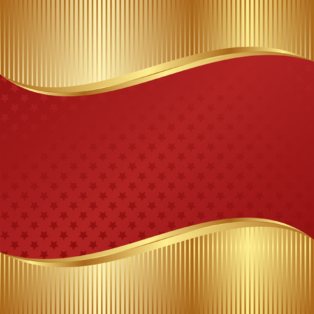 brushed gold: red and gold background with stars Illustration