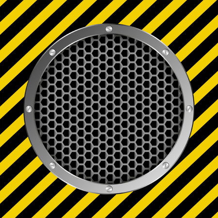 barrier tape: grate background with yellow and black tape Illustration