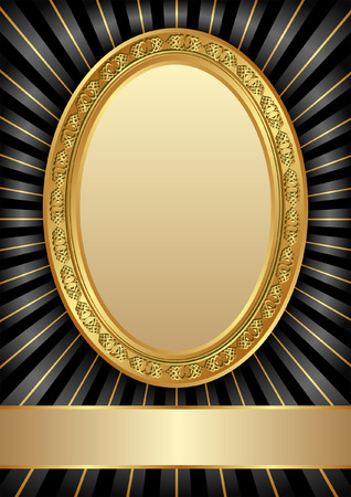 golden frames: black background with golden frames Illustration