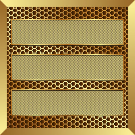 metal grid: three golden banners on metallic background