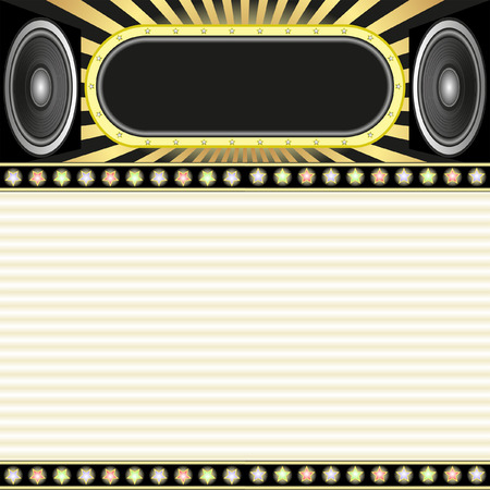 background with neon, stars and speakers Vector