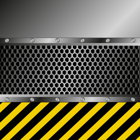 metallic background with grate texture and yellow and black stripes Vector