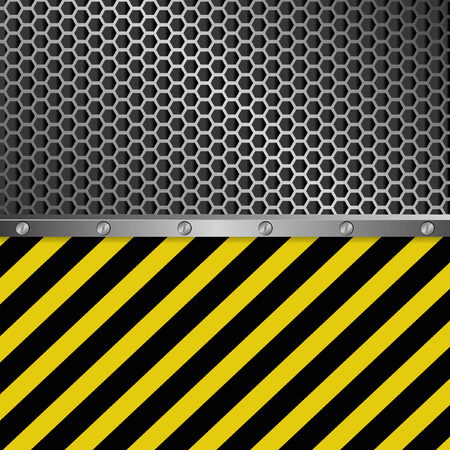 dangerous construction: metallic background with grate texture and yellow and black stripes