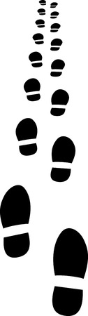 receding: silhouette of footprints receding