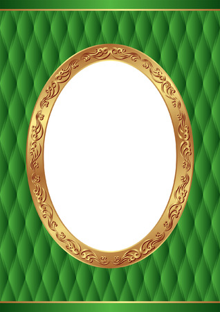 green background with golden frame, transparent space insert for picture Illustration