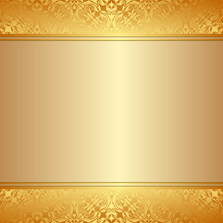 golden border: golden background with ornaments and copy space Illustration