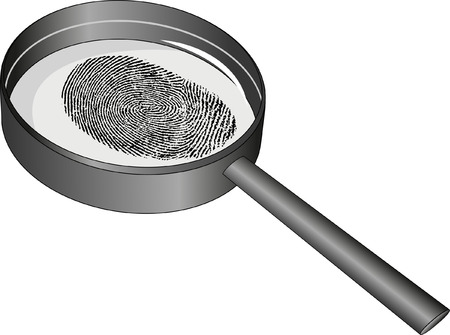 loupe: isolated magnifying glass and fingerprint