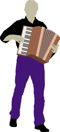 musician silhouette: silhouette of bandsman with accordion Illustration