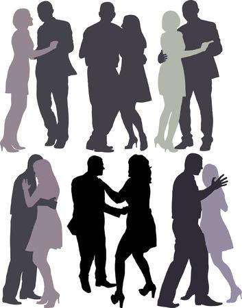 poise: siluetas de parejas de baile