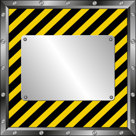 construction barrier: black and yellow  background with metal plate
