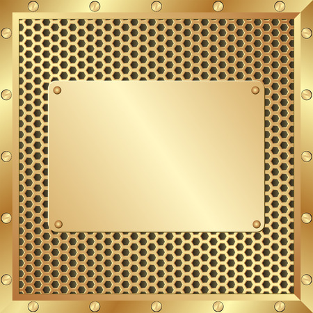 tread plate: golden background with metal plaque