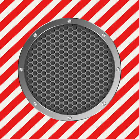 hazard tape: white and red stripes with round banner Illustration