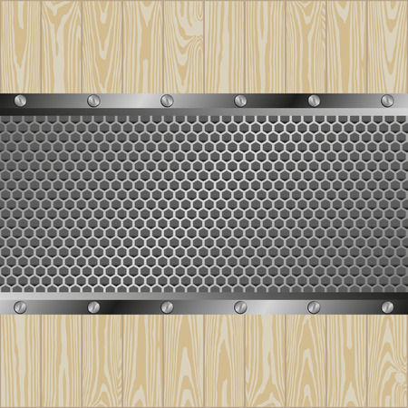 woden: metal and woden background with grate texture