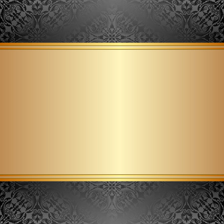 brushed gold: gold and black background with ornaments Illustration