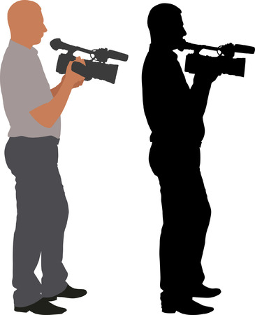 film shooting: silhouette of cameraman Illustration