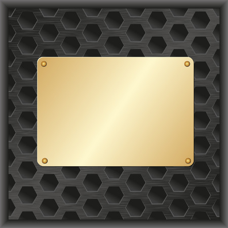 tread plate: black background  with golden plaque