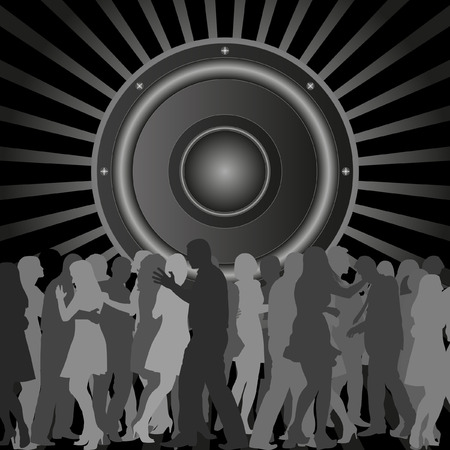 shadowed: background with silhouettes of dancing people and speaker Illustration