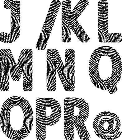 fingermark: alphabets with fingerprint Illustration