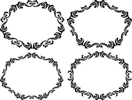 oval shape: silhouette of decorative border