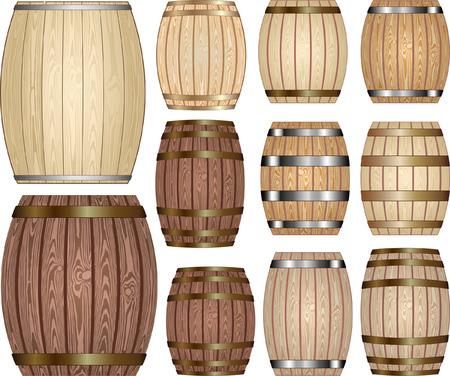 set of wooden barrels